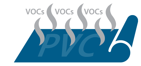 Graphic of VOCs dispersing from traditional PVC (vinyl) materials.